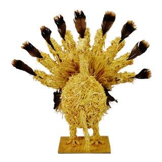 Vintage Folk Art Thanksgiving Straw Turkey Centerpiece Decoration 40 x 38 For Sale