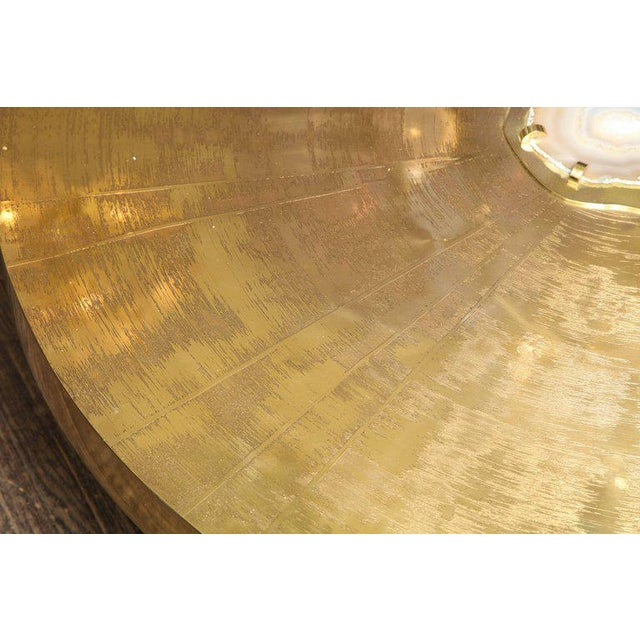 Venfield Spectacular Round Etched Brass and Agate Cocktail Table For Sale - Image 4 of 10