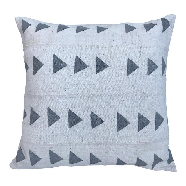 Grey & White Arrow Mud Cloth Textile Pillow - Image 1 of 6