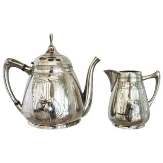 Vintage German Pewter Teapot and Creamer