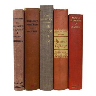 Vintage Orange Decorative Books - Set of 5 For Sale