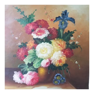 Impressionist Flower Oil on Canvas Painting For Sale