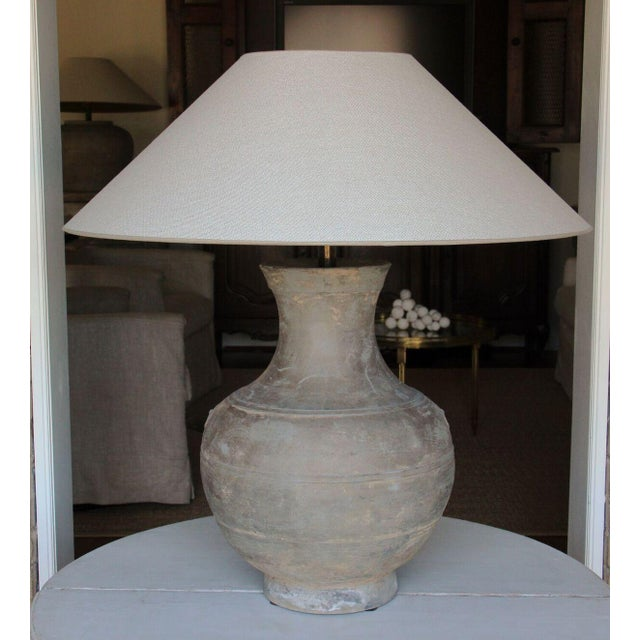 Large Chinese Han Dynasty Period Unglazed Vase as Table Lamp For Sale - Image 9 of 9