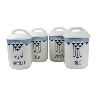 Art Deco Porcelain Kitchen Canisters - Set of 4 For Sale