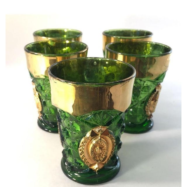 Green And Gold Rimmed Cocktail Glasses - Set of 5 - Image 2 of 4