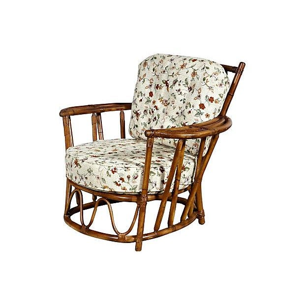1950's Rounded Rattan Lounge Chair - Image 2 of 5