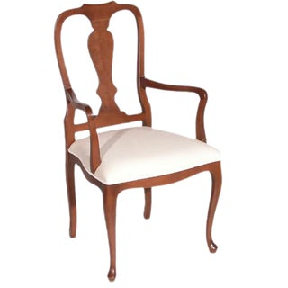1990s Vintage Italian Queen Ann Style Dining Arm Chair For Sale