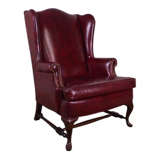 Oxblood Leather Vintage Mahogany Queen Anne Wing Chair For Sale