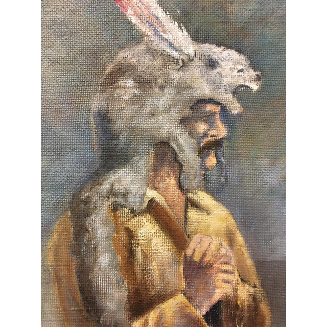Beautifully detailed and executed oil on canvas board painting. This piece depicts an early 19th century frontiersman with...