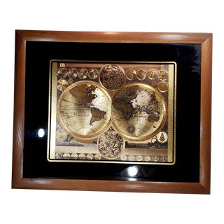 Gold Foil World Map Planisphaerium Terrestre Lithograph, Framed For Sale