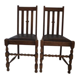 Jacobean Leather Seat Chairs - a Pair