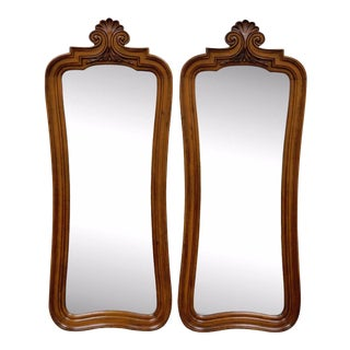 Pair Vintage Hollywood Regency Walnut French Style Wall Mirrors White Furniture For Sale