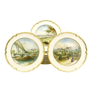 12 Copeland Spode Hand Painted Historic Fresh Water Cabinet/Dessert Plates For Sale