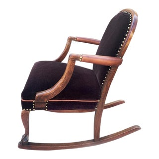 American Empire Style Rocking Chair in Oak, Circa 1890 For Sale