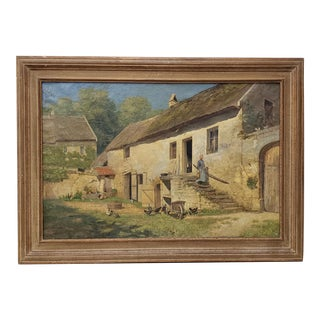 Edwin a Turner (1854-1899) 19th Century European Farm House Oil Painting C.1890s For Sale
