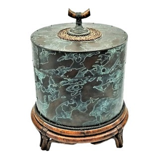 Mailtand Smith Large Decorative Box Made Out of Etched Bronze Rattan and Jute - Signed For Sale