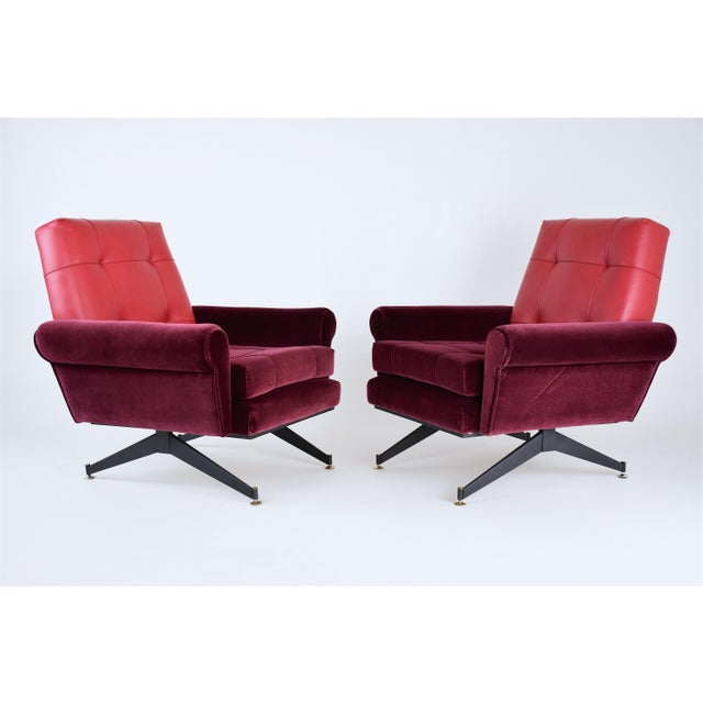 Pair of Italian 20th century vintage armchairs circa 1950s with steel compass legs, comfortable depth, in fully restored...