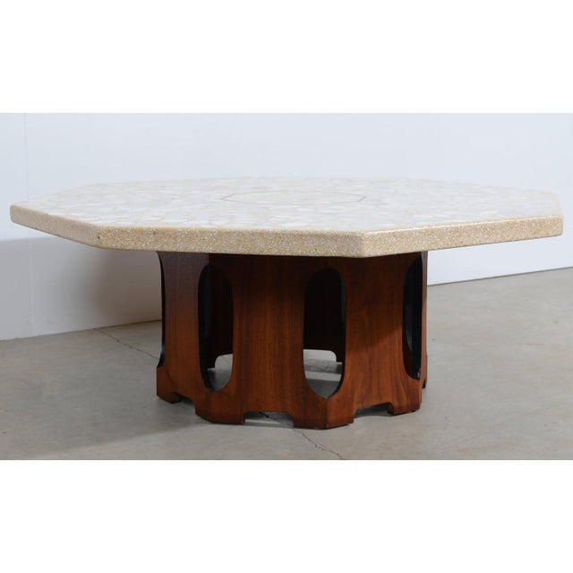 Harvey Probber 1960s Mid Century Modern Harvey Probber Terrazzo and Walnut Hexagon Cocktail Table For Sale - Image 4 of 5