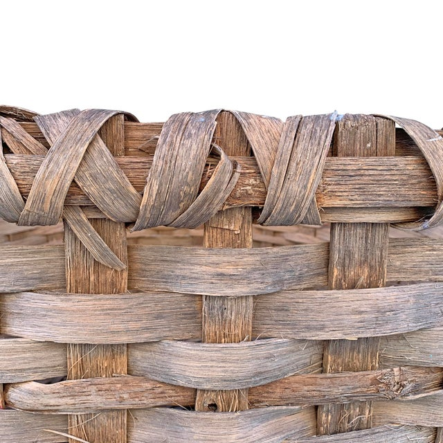 Massive 19th Century Oak Splint Wool Basket For Sale - Image 10 of 13