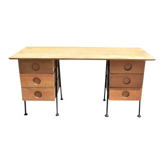 Mid Century Iron and Bleached Wood Writing Desk For Sale