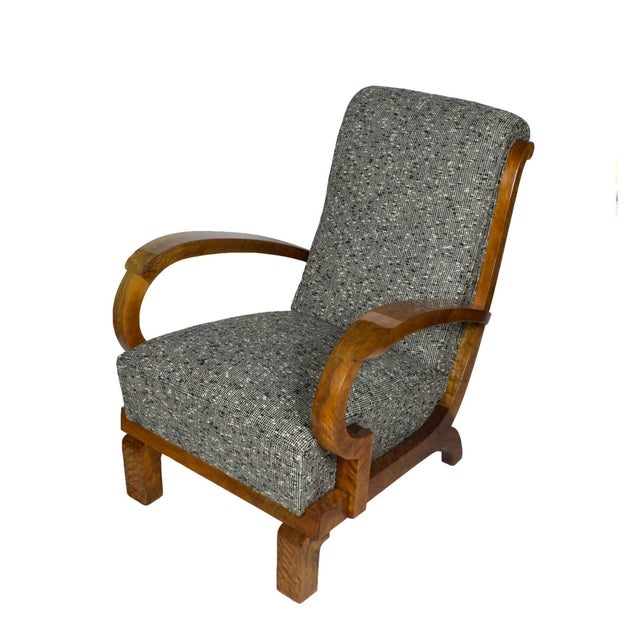 1930s Pair of Art Deco Armchairs, Walnut, Wool, Italy For Sale - Image 6 of 11