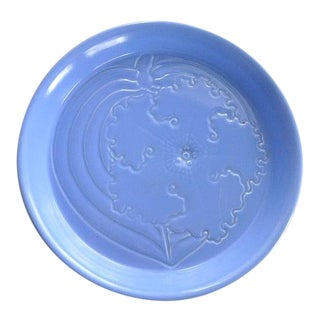 Vernon Kilns May & Vieve Hamilton Modernist Blue Petunia Bowl For Sale