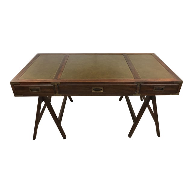 Rosewood Campaign Desk with Leather Top For Sale