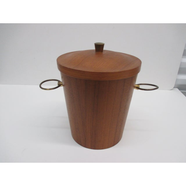 Vintage Mid-Century Modern Ice Bucket With Ears as Handles In rose wood veneer, aluminum inside with brass ears USA,...