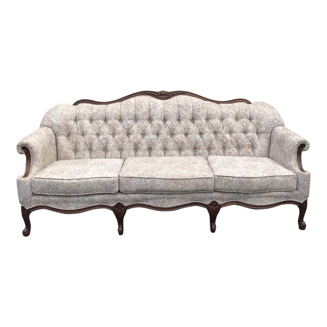 1960s Queen Anne Tufted Linen and Walnut Sofa For Sale