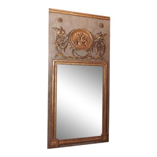 Louis XVI Painted and Gilded Trumeau Mirror