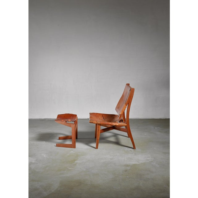Mid-Century Modern Studio Craft Lounge Chair With Ottoman, Usa For Sale - Image 3 of 6