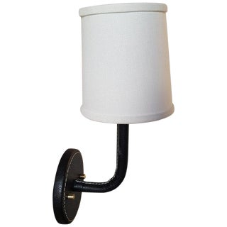 Paul Marra Top-Stitched Leather Wrapped Sconce in Black For Sale