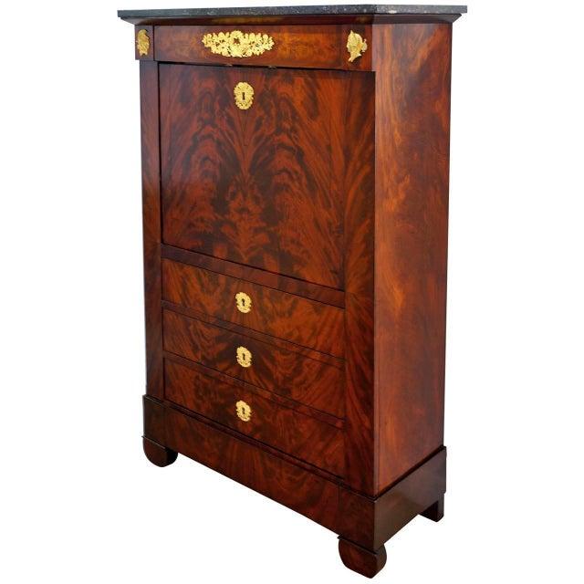 Antique 1852 French Empire Secretaire Abattant Secretary Desk For Sale - Image 11 of 12