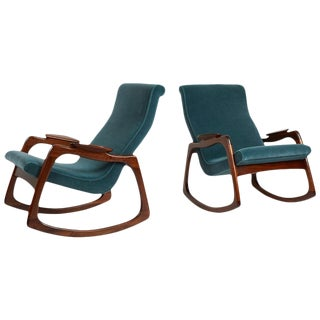Adrian Pearsall Walnut Frame Rocking Chairs - a Pair For Sale