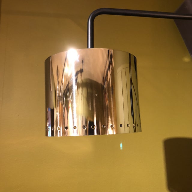 Contemporary Black & Chrome Shaded Wall Lamp For Sale - Image 3 of 8