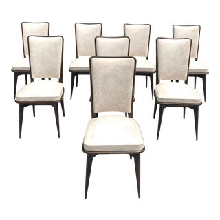 1940s Vintage French Art Deco Solid Mahogany Dining Chairs - Set of 8 For Sale