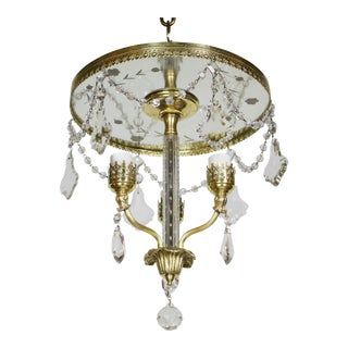 1940 Traditional Three Light Flush Brass and Crystal Chandelier For Sale
