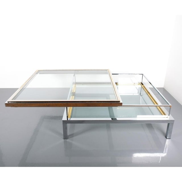 Refurbished Large Maison Jansen Brass and Chrome Vitrine Coffee Table, 1970 For Sale - Image 12 of 12