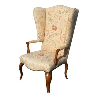 Unique Vintage French Country Floral Throne Wingback Accent Chair For Sale