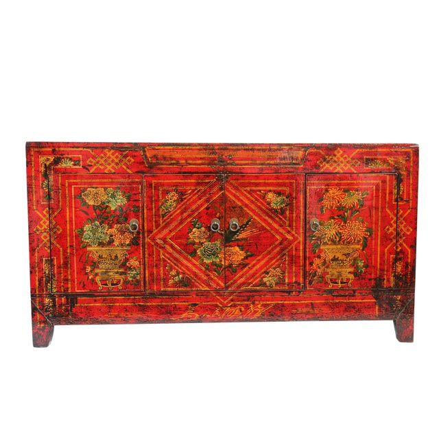 Mongolian Painted Red Sideboard - Image 1 of 4
