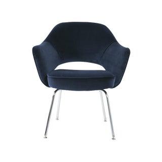 Saarinen for Knoll Executive Arm Chair in Navy Velvet