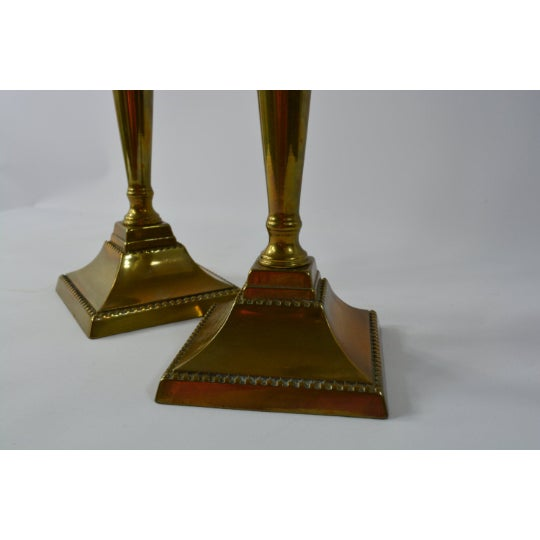 Brass Candlestick Holders - a Pair For Sale - Image 4 of 6