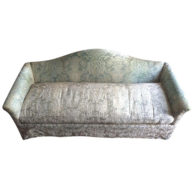 Fortuny Covered Camel-Back Sofa with Rolled Arms - Image 1 of 10