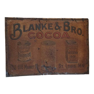 """Antique Embossed Tin Advertising Sign """"Blanke & Bro. Cocoa St. Louis, Mo."""" For Sale"""