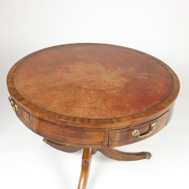 English Traditional Regency Period Mahogany Drum Table With Embossed Leather Inset and Lion Paw Casters, English Circa 1820 For Sale - Image 3 of 9