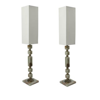 Green Onyx Table Lamp - a Pair For Sale