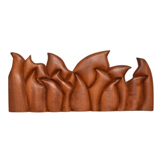 Abstract Wood Sculpture the Last Supper Signed Victor Rozo For Sale