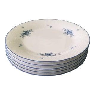 Noritake Blue Flowers & Trim Design Dessert/Appetizer Plates - Set of 5 For Sale