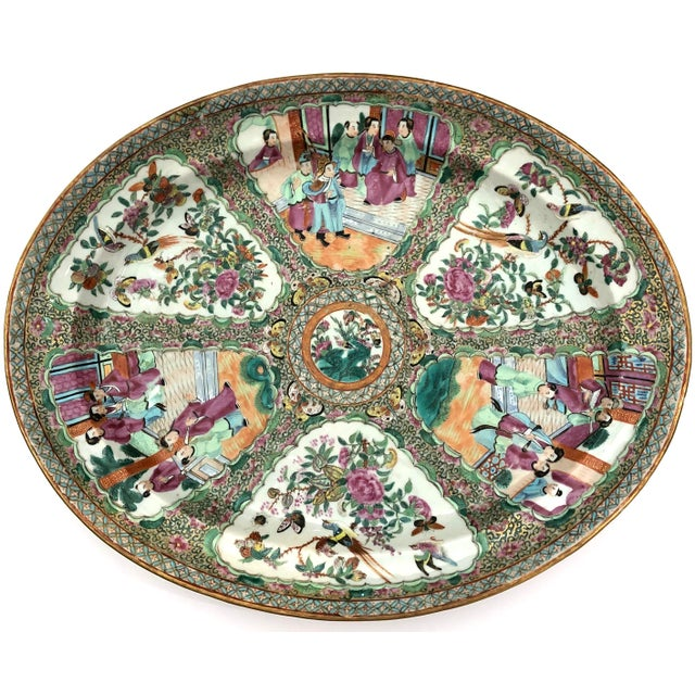 Late 18th Century Exceptional & Large Chinese Export Canto, Rose Medallion Platter, 18th C. For Sale - Image 5 of 11
