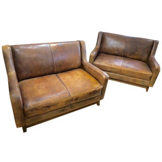 French Distressed Leather Sofas Loveseats - a Pair For Sale